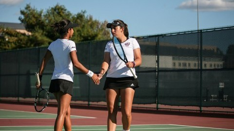 Womens Tennis hosted Providence College on Thursday afternoon.  Shannon Broderick/ Daily Collegian