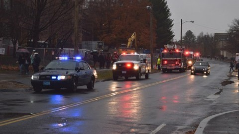 Emergency vehicles responding to the lab fire in Morrill. Patrick Hoff/Daily Collegian