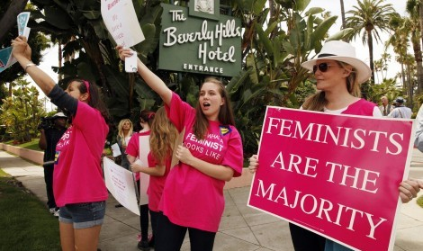 High School students from a Feminist Majority Foundation Chapter at New Roads High School in Santa Monica, Calif., protest in front of the Beverly Hills Hotel. The Feminist Majority Foundation led the protest across the street from the hotel on Monday, May 5, 2014. (Al Seib/Los Angeles Times/MCT)