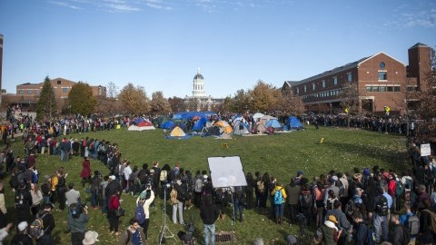 The tent city at the Concerned Students 1950 protest on Monday, Nov. 9 2015, in Columbia, Mo. Concerned Students 1950 is a group named after the first year that black students were allowed to attend MU. (Michael Cali/San Diego Union-Tribune/TNS)