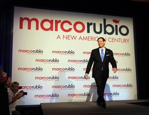 Sen. Marco Rubio (R-Fla.) announces his candidacy for President of the United States on Monday April 13, 2015, at the Freedom Tower in Miami. (Patrick Farrell/Miami Herald/TNS)
