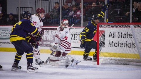(Nic Renyard let in 4 goals, including this one late in the third period. UMass Men's Ice Hockey lost to Merrimack 4-2 at the Mullins Center Friday night. Judith Gibson-Okunieff/ Daily Collegian)