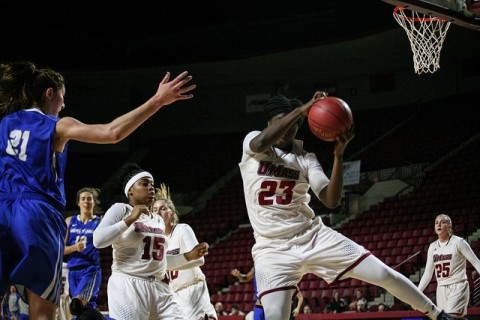 (Rashida Timbilla grabs a rebound. Womens Basketball lost to Buffalo, 56-48. Shannon Broderick/ Daily Collegian)