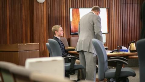 (Patrick Durocher sits with his attorney Vincent Bongiorni Tuesday at Hampshire Superior Court.  Mark Chiarelli/Daily Collegian)