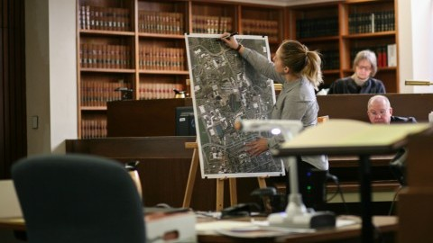 Alexis Smither addresses a map of the UMass campus during witness testimony Tuesday in the Patrick Durocher trial.  Mark Chiarelli/Daily Collegian