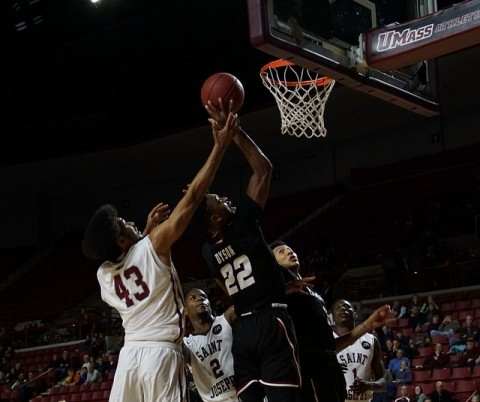 (St Josephs DeAndre Bembry battles with Demetrius Dyson in the last 30 seconds of the game. Cade Belisle/ Daily Collegian)