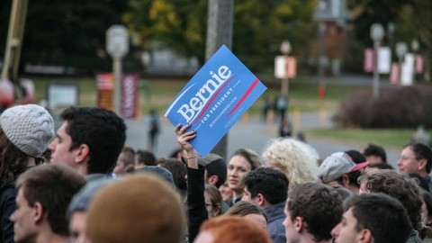 (Student Group UMass for Bernie Sanders held a rally opposite the Student Union. Shannon Broderick/ Daily Collegian)
