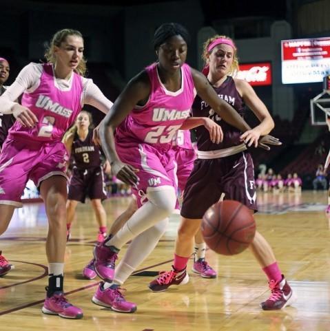 (Maggie Mulligan and Rashida Timbilla try to gain control of the ball. Robert Rigo/ Daily Collegian)