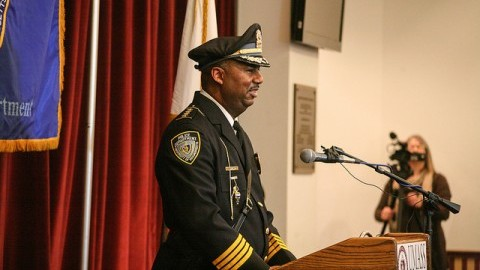 Tyrone A. Parham was sworn in as UMPD Police Chief on Friday.  (Shannon Broderick/Daily Collegian)