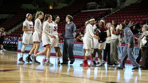 (The UMass women's basketball team celebrates after defeating St. Bonaventure. Shannon Broderick/ Daily Collegian)