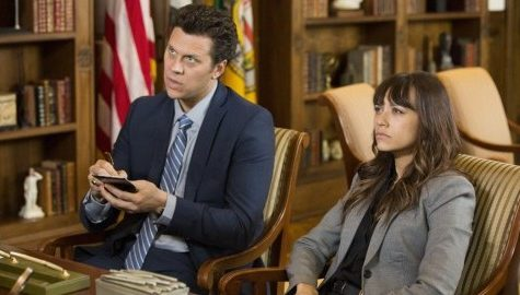 (Rashida Jones and Hayes MacArthur in