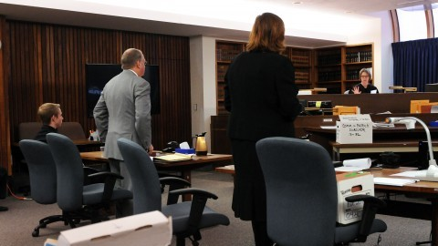 Before the start of Wednesday's session, and in the absence of the jury, Hampshire Superior Court judge Mary-Lou Rup, right, discusses with councilors what will be included in the instructions to the jury. From left are defendant Patrick Durocher, 20, of Longmeadow, his attorney, Vincent Bongiorni of Springfield and prosecutor Assistant Northwestern District Attorney Jennifer Suhl. (Courtesy of Kevin Gutting/Daily Hampshire Gazette)