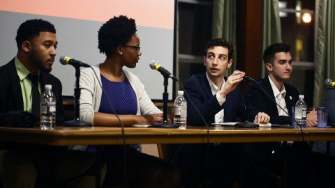 From left to right: SGA presidential candidate Khalif Nunnally-Rivera and vice presidential candidate Maija Hall debate with SGA presidential candidate Anthony Vitale and Nick Rampone. (Robert Rigo/Daily Collegian)