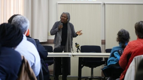 (Dr. Barbara Love gives the audience a brief history of the role of black lives in America. Robert Rigo/ Daily Collegian)