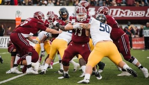 UMass football's offensive line learns to adapt this spring