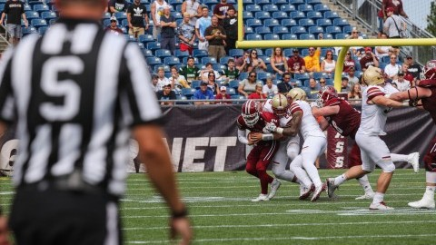 UMass football struggles to protect Ross Comis in loss to Boston College