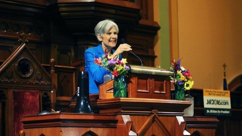 Politician, Jill Stein speaking at her own event in the First Church, Northampton on September 18, 2016. Photo by Caroline A. O'Connor.