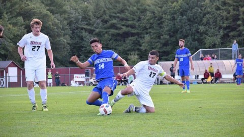 Ty Goncalves steals the ball from a CCSU player during Tuesdays game at Rudd Field. Katherine Mayo/Daily Collegian)