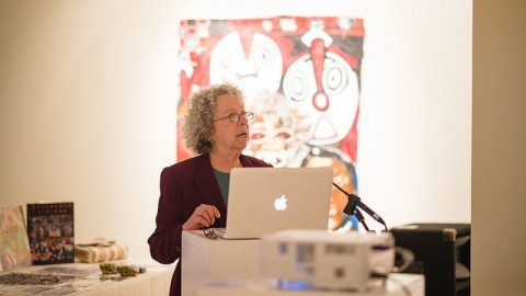 Phyllis Kornfeld, an artist, author, and educator, talked about her experience teaching art to incarcerated men and women. Judith Gibson-Okunieff/Daily Collegian)