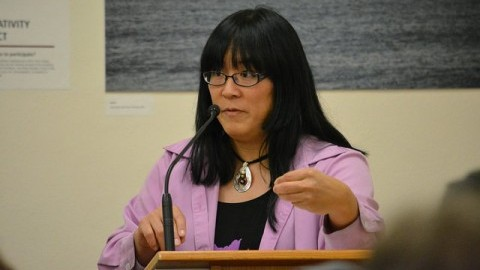 Ryka Aoki speaks in the Campus Center Thursday night as part of the