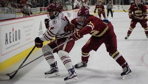 Dominic Trento defends the puck from BC. Caroline O'Connor/Daily Collegian)