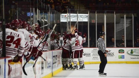 UMass hockey holds on in 3-2 win over Army West Point Friday night at Mullins Center