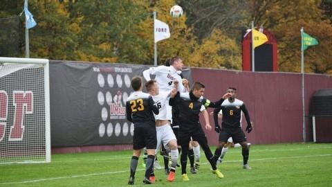Konrad Gorich heads the ball during Saturdays game against VCU at Rudd Field. (Katherine Mayo/Daily Collegian)
