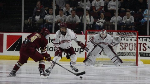 William Lagesson and Nic Renyard blcok BC from scoring. Christina Yacono/Daily Collegian)