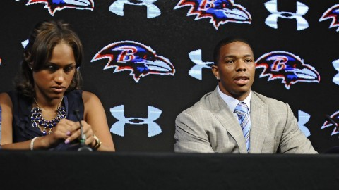Ravens running back Ray Rice, right, and his wife Janay made statements to the news media May 5, 2014, at the Under Armour Performance Center in Owings Mills, Md, regarding his assault charge for knocking her unconscious in a New Jersey casino. On Monday, Sept. 9, 2014, Rice was let go from the Baltimore Ravens after a video surfaced from TMZ showing the incident. (Kenneth K. Lam/Baltimore Sun/MCT)