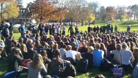 Students of Amherst Regional High School walkout in solidarity after election results