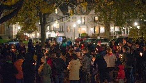 Amherst crowd holds candlelight vigil following election results
