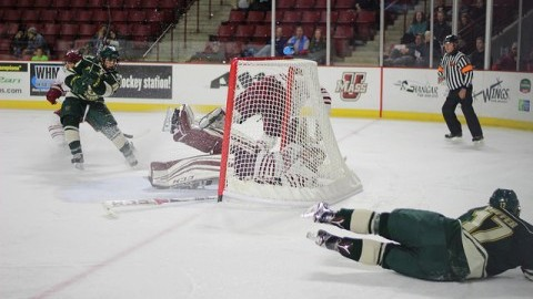 Hockey vs. Vermont on November 12, 2016 at the Mullins Center. Ryan Whischow (1) is defending the net. Caroline O'Connor/Daily Colegian)