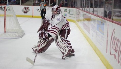 Hockey vs. Vermont on November 12, 2016 at the Mullins Center. Ryan Wischow. (Caroline O'Connor.