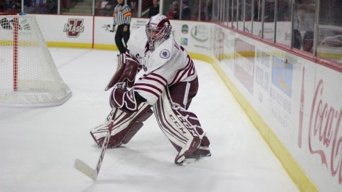Hockey vs. Vermont on November 12, 2016 at the Mullins Center. Ryan Wischow. (Caroline OConnor.