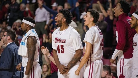 Rashaan Holloway (45) cheers as UMass defeats Temple in the final seconds of the game. Judith Gibson-Okunieff/Collegian