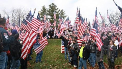 Hundreds gathered to protest the removal of the American flag at Hampshire College