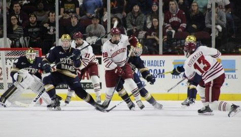 UMass hockey fails to generate scoring chances in 3-0 loss to Notre Dame Saturday