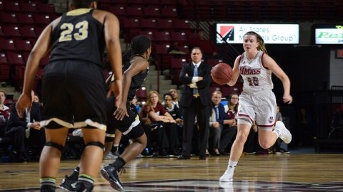Leah McDerment had 14 assists in their game against Bryant.  Katherine Mayo/Daily Collegian)