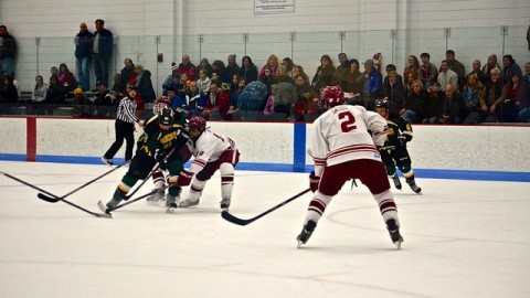 UMass' Kevin Olson using his stick to defend the offense in the Men's Club Hockey Senior Game on January 25, 2015.  (Nicole Evangelista/Daily Collegian)