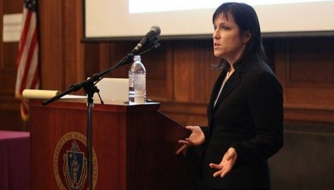 Megan Kludt gave a speech at the University of Massachusetts Amherst on November 10. Jong Man Kim/Collegian)