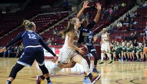 Hailey Leidel attempted to shoot during a game against URI on January 4th. (Jong Man Kim/Daily Collegian)