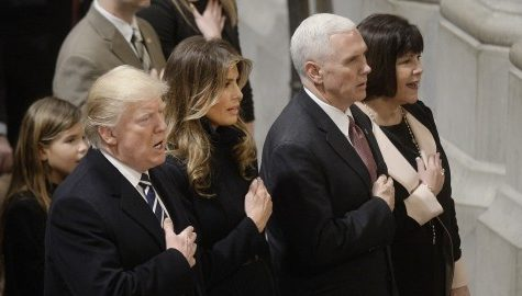 President Trump, first lady Melania Trump, Vice President Mike Pence and Karen Pence during a prayer service at the National Cathedral in Washington, D.C., on Saturday, Jan. 21, 2017. (Olivier Douliery/Abaca Press/TNS)