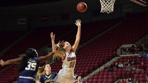 Maggie Mulligan (00) scores a basket during the game against La Salle at the Mullins Center on 2/19. Katherine Mayo/Daily Collegian)
