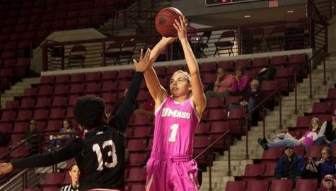 Maggie Mulligan (1) takes a shot in the Play4Kay game against Davidson in the Mullins Center on Saturday afternoon. (Chris O'Keefe/Daily Collegian)