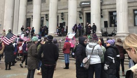 Activists, students and community members gather for reproductive justice rally