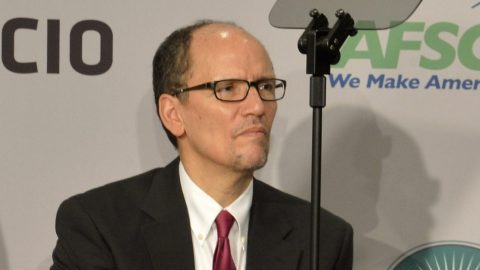 In a February 2015 file image, Tom Perez as Labor Secretary attends an American Association of Retired Persons function in Washington, D.C. On Saturday, Feb. 25, 2017, Perez was elected as head of the Democratic National Committee. (Photo by Mike Theiler/Pool/Sipa USA/TNS)
