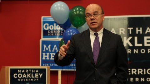 Jim McGovern giving a talk about the importance of voting. (Christina Yacono/Daily Collegian)