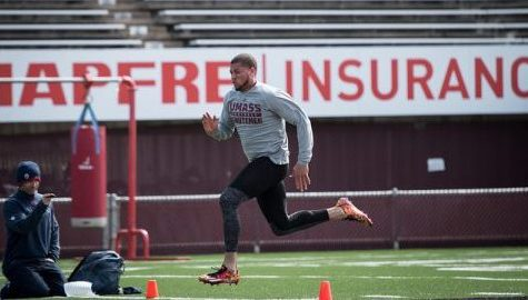 Past and present UMass football players participate in 2017 Pro Day Thursday