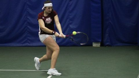 Janja Kovacevic played tennis matches at the Bay Road Tennis Club on February 19. (Jong Man Kim/Daily Collegian)