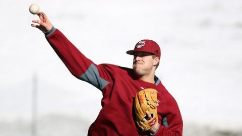 Baseball practice on Garber Field Feb. 17. (Jessica Picard/Daily Collegian)